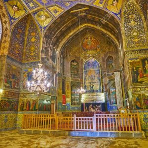 ISFAHAN, IRAN - OCTOBER 20,2017: The  beautiful altar of Armenian Orthodox Bethlehem Church in New Julfa with fine patterns and masterpiece icons, on October 20 in Isfahan.